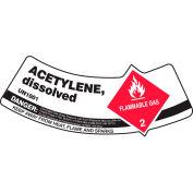 Accuform MCSLACRVSP Gas Cylinder Shoulder Label, Acetylene Dissolved, Vinyl Adhesive, 5/Pack