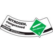 Accuform MCSLNIGVSP Gas Cylinder Shoulder Label, Nitrogen Compressed, Vinyl Adhesive, 5/Pack