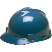 MSA V-Gard® Hard Hats, Front Brim, Fas-Trac® Suspension, Blue, 475359 - Pkg Qty 20
