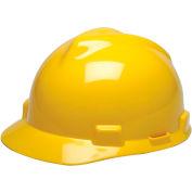 MSA V-Gard® Hard Hats, Front Brim, Fas-Trac® Suspension, Yellow, 475360 - Pkg Qty 20