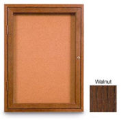"United Visual Products 42""W x 32""H 2-Door Non-Illuminated Corkboard with Walnut Frame"