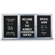 """United Visual Products W 72"""" x 48"""" Conseil 3 portes intérieur lettre jointe H avec cadre de rayon"""