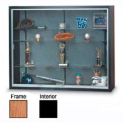 """48"""" x 36"""" x 8"""" Oak Laminate Display Case w/Two Shelves and Black Interior"""