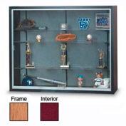 "60"" x 48"" x 8"" Oak Laminate Display Case w/Three Shelves and Burgundy Interior"