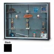 "60"" x 48"" x 8"" Black Laminate Display Case w/Three Shelves and Black Interior"