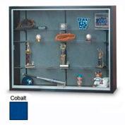 "60""x48""x8"" Black Laminate Display Case w/3 Shelves and Cobalt Accent Interior"