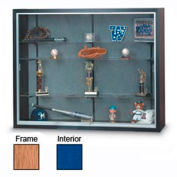 "72"" x 48"" x 8"" Oak Laminate Display Case w/3 Shelves and Cobalt Accent Interior"