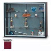 "72"" x 48"" x 8"" Black Laminate Display Case w/Three Shelves and Burgundy Interior"