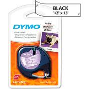 """Le plastique LetraTag DYMO® Label Tape Cassette, 1/2 """"x 13 pi, claire"""