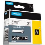 """DYMO® Rhino en Nylon Flexible d'étiquettes industrielles bande, 1/2 """"x 11-1/2 ft, blanc/noir imprimé"""