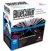 BlueCollar Outdoor Drawstring Trash Bags - Black, 30 Gallon, 1 Mil, 240/Case - N6034YKRC1