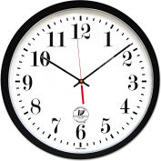 "Chicago Lighthouse Atomic Slimline Contemporary Clock, 16-1/2"", Noir"