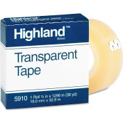 "Highland™ Transparent Tape, 3/4"" x 1296"", 1"" Core, Clear"