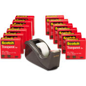 "Scotch® Transparent Tape Dispenser Value Pack, 1"" Core, Black, 12/Pack"