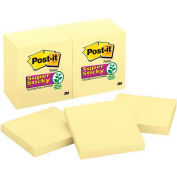 Post-it® Super Sticky Notes, 3 x 3, Twelve 90-Sheet Pads/Pack, Canary Yellow