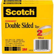 "Scotch® 665 Double-Sided Tape, 1/2"" x 1296"", 3"" Core, Transparent, 2/Pack"