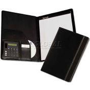 Samsill 71220 Pad titulaire w/calculatrice, Reptile en cuir-Look/Faux Trim, pavé d'écriture, noir