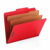 Smead® Pressboard Classification Folders, Letter, Six-Section, Bright Red, 10/Box
