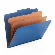 Smead® Pressboard Classification Folders, Letter, Six-Section, Dark Blue, 10/Box