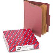 Smead® Pressboard Classification Folders, Self Tab, Letter, Six-Section, Red, 10/Box