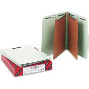 Smead® Pressboard Classification Folders, Tab, Letter, Six-Section, Gray-Green, 10/Box