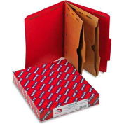 Smead® Pressboard Folders, Two Pocket Dividers, Letter, Six-Section, Bright Red, 10/Box