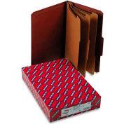 Smead® Pressboard Classification Folders, Self Tab, Legal, Eight-Section, Red, 10/Box