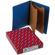 Smead® Pressboard End Tab Classification Folders, Letter, Six-Section, Dark Blue, 10/Bx