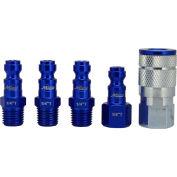 Milton S-305TKIT, ColorFit Blue Coupler and Plug Kit, Automotive T Style, 5 Pieces