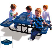 4' Rectangular Child's Picnic Table, Perforated Metal, Blue