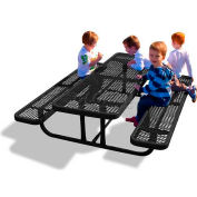 6' Rectangular Child's Picnic Table, Perforated Metal, Black