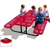 6' Rectangular Child's Picnic Table, Perforated Metal, Red