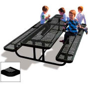 8' Rectangular Child's Picnic Table, Perforated Metal, Black