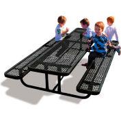 8' Rectangular Child's Picnic Table, Expanded Metal, Black
