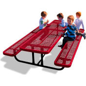 8' Rectangular Child's Picnic Table, Expanded Metal, Red