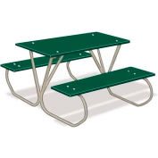3' Preschool Green Polyethylene Table with Galvanized Frame