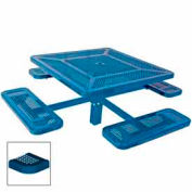 """46"""" Single Pedestal Square Table, Inground, Perforated 78""""W x 78""""D - Blue"""