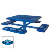 """46"""" Single Pedestal Square Table, Inground, Expanded Metal 78""""W x 78""""D - Blue"""