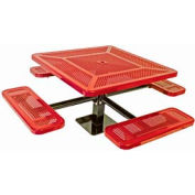 """46"""" Single Pedestal Square Table, Surface Mount, Perforated 78""""W x 78""""D - Red"""