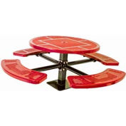 """46"""" Single Pedestal Round Table, Surface Mount, Perforated 82""""W x 82""""D - Red"""