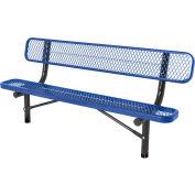 6' In-Ground Bench w/ Back, Diamond Pattern, Blue