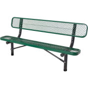 6' In-Ground Bench w/ Back, Diamond Pattern, Green