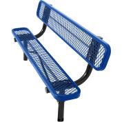 8' In-Ground Bench w/ Back, Diamond Pattern, Blue