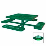 """46"""" Single Pedestal Square Table, Inground, Expanded Metal 78""""W x 78""""D - Green"""