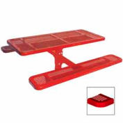 """6' Single Pedestal Table, Inground, Perforated 72""""W x 70""""D - Red"""