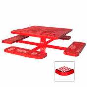 """46"""" Single Pedestal Square Table, Inground, Expanded Metal 78""""W x 78""""D - Red"""