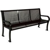 "8' Lexington Bench, Perforated 96""W x 25""D - Black"