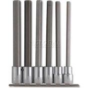 "Urrea Long Hex Tip Socket Set, 54416L, 1/2"" Drive, 6 Pieces, W/Clips & Rail"