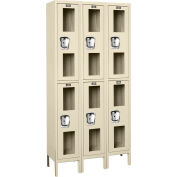 Global Industrial™ Global Clear View Locker Double Tier 12x12x36 - 6 Doors Assembled - Tan