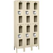 Global Industrial™ Global Clear View Locker Double Tier 12x15x36 - 6 Doors Assembled - Tan